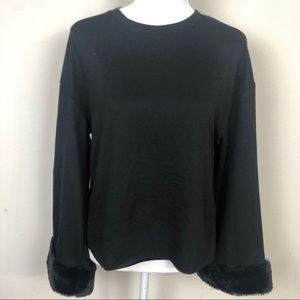 Zara Black Fur Cuff Shirt.